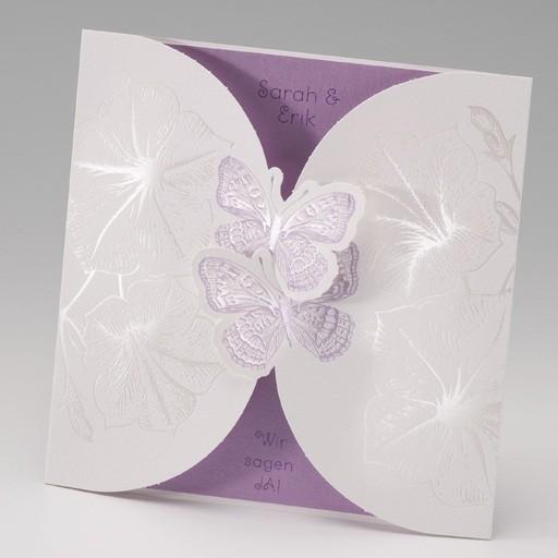 Verspielte Hochzeitseinladungskarte Mit Zwei Schmetterlingen