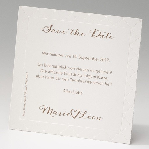 hochzeit save the date karte im 4er bogen diagonales herzmuster. Black Bedroom Furniture Sets. Home Design Ideas
