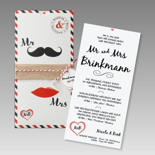 Moderne Hochzeitseinladungskarte Mr U0026 Mrs, Kreativ. Einsteckkarte Mr Und Mrs
