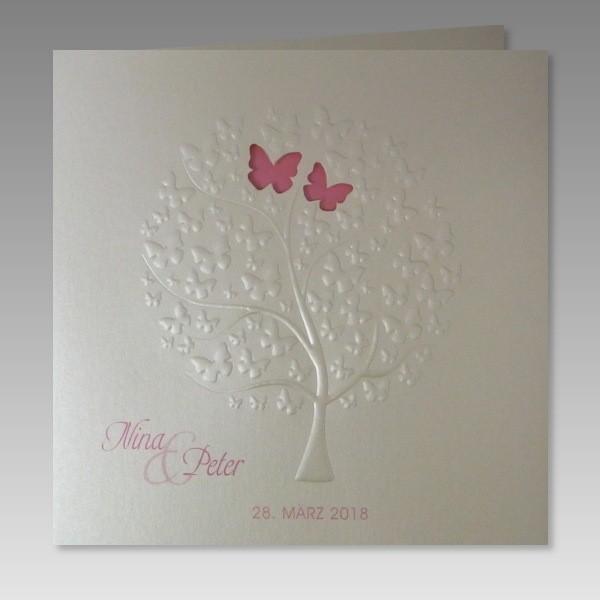 g nstige einladungskarte zur hochzeit mit liebesbaum aus schmetterlingen. Black Bedroom Furniture Sets. Home Design Ideas