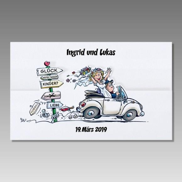 Lustige Hochzeitskarte Mit Frohlichem Brautpaar Im Cabrio