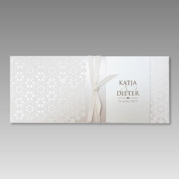 Hochzeitseinladungskarte Mit Fuhlbaren Ornamenten Sehr Stilvoll