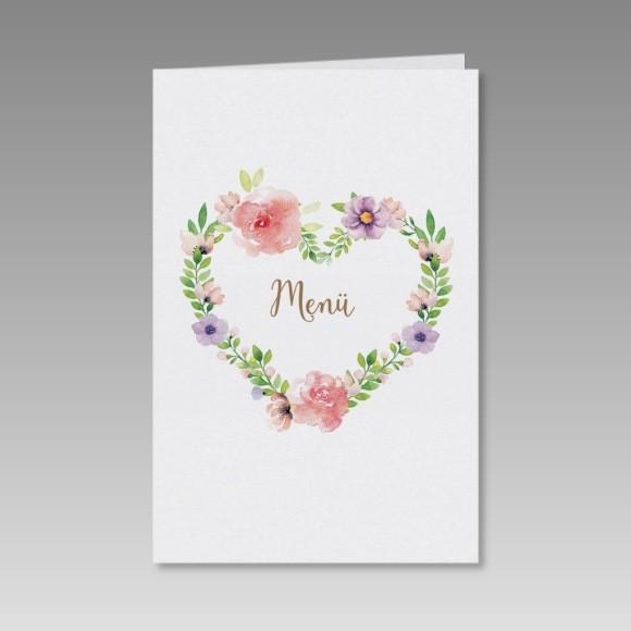 Romantische Menukarte Zur Hochzeit Mit Blumenherz Bestellen