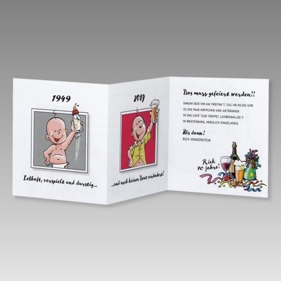 Witzige Männer Einladungskarte 70. Geburtstag Mit Cartoons