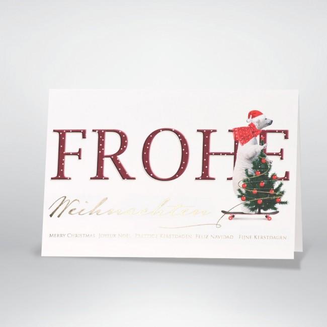 Flotte Weihnachtskarte mit tierischem Gruß