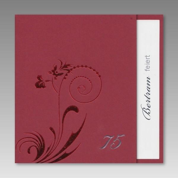 Schicke Rote Einladungskarte Zum 75 Geburtstag