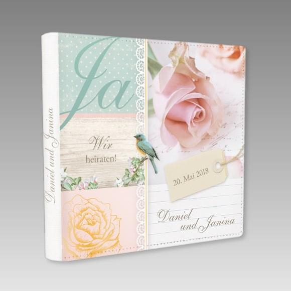 Vintage Hochzeitsgastebuch Mit Schriftzug Ja Wir Heiraten