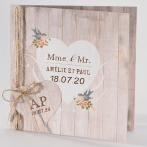 Liberty Einladungskarte Hochzeit in Holzoptik