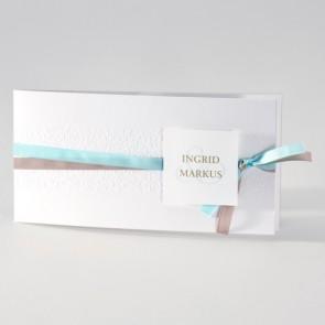 Stilvolle Einladungskarte Hochzeit mit doppeltem Band