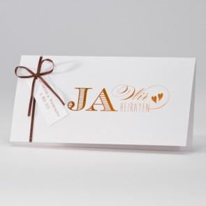 Hochzeitseinladung in weiß mit Kupferfoliendruck