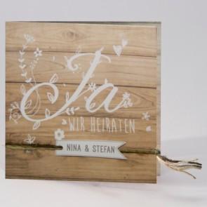 Moderne Einladung Hochzeit in Holzoptik