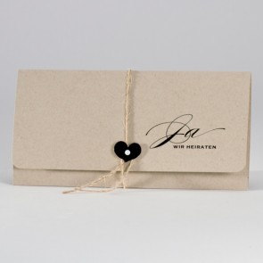 Öko Hochzeitskarte: Einladung naturbraun