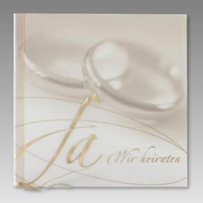 Einladungskarte Hochzeit mit Schriftzug Ja, wir heiraten und Eheringe