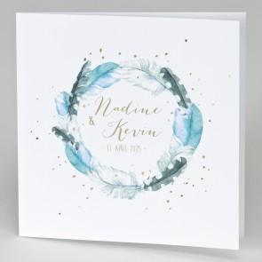 Einladungskarte Hochzeit mit Blumenkranz
