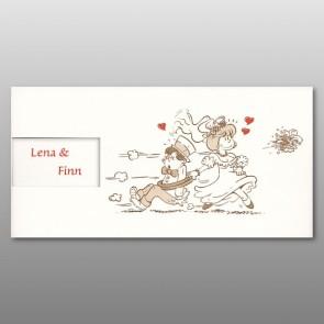 Lustige Hochzeit Einladungskarte im Querformat mit Comic
