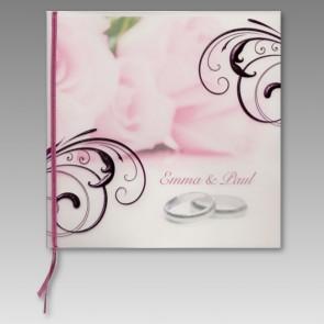 Hochzeitseinladung mit Eheringen und Folien-Ornamenten