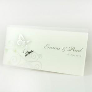 Einladung zur Hochzeit mit Silberglanzfolien-Schmetterlingen