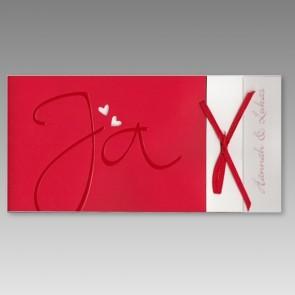 Rote Einladung zur Hochzeit mit Ja