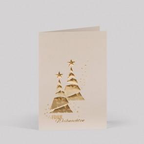 ElElegante Weihnachtskarte mit zwei goldenen Weihnachtsbäumen