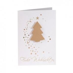 Frontansicht Weihnachtskarte mit aufgeklebten Baum