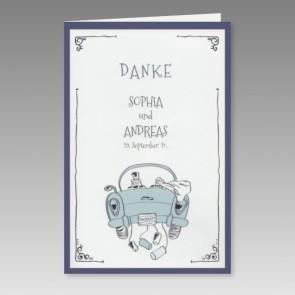 Danksagungskarte Hochzeit mit lustigem Comic-Motiv
