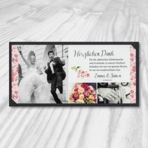 Danksagungskarte Hochzeit mit Bilderdruck
