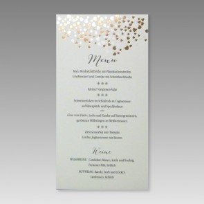 Menükarte Hochzeit mit Glitzerherzen