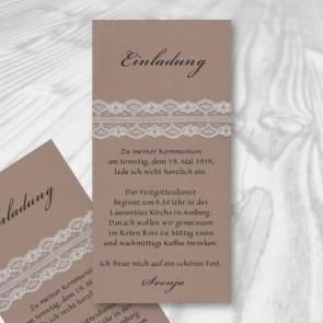 Einladungskarte Kommunion mit Spitzenband