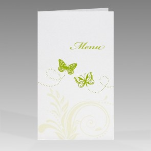 Hochzeitsmenükarte mit grünen Schmetterlingen