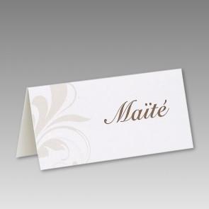 Tischkarte zur Hochzeit mit Ornament im 6er Bogen
