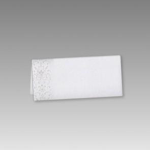 Neutrale Tischkarte Kommunion in Weiß mit Ornamentdruck