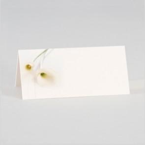 Tischkarten zur Hochzeit mit weißer Calla auf A4
