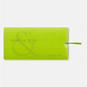 Einladung als Schiebekarte, grün