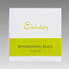 Moderne Einladungskarte zur Konfirmation in weiß und grün für Jungen