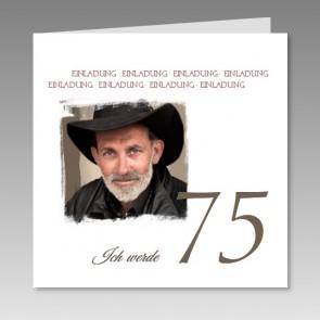 Einladungskarte 75. Geburtstag mit Ihrem Foto, gedruckt