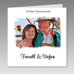 Einladungskarte Silberhochzeit mit Ihrem gedrucktem Foto