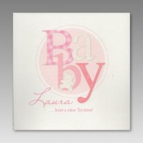 Babykarte für Mädchen, rosa