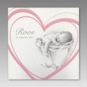 Geburtskarte für ein Mädchen mit rosa Herz