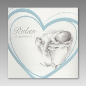 Geburtskarte für einen Jungen mit blauem Herz