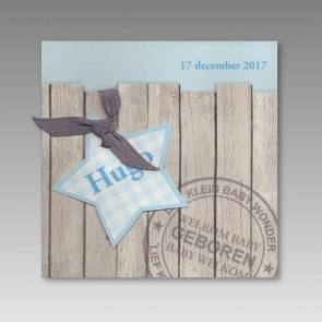 Geburtsanzeige für einen Jungen in Blautönen