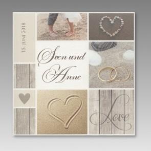 Einladungskarte Hochzeit: Eheringe und Herz am Strand