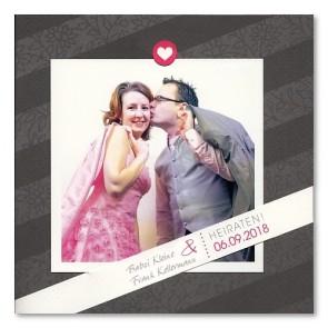 moderne Einladungskarte zur Hochzeit mit Foto