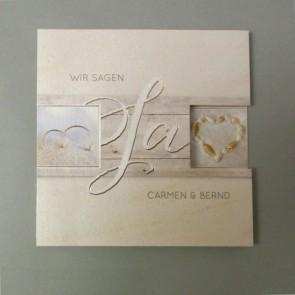 Mehrfach klappbare Hochzeitseinladung mit Strandmotiven