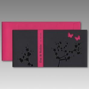 Schwarze Hochzeitskarte mit Kuvert in Pink