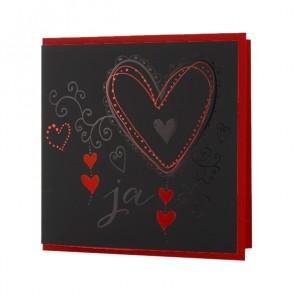 Schwarz-rote Einladungskarte mit Herzen