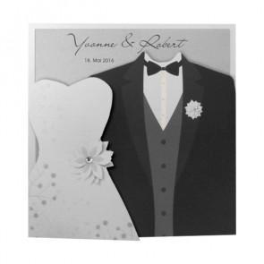 Luxuriöse Hochzeitseinladung mit Brautkleid und Hochzeitsanzug