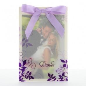 Danksagung zur Hochzeit mit violettem Ornament