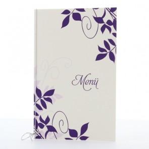 Menükarte zur Konfirmation mit violetten Ornamenten
