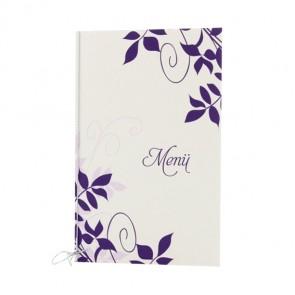 Menükarte mit violetten Ornamenten