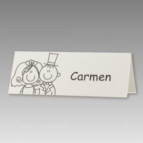 Witzige Tischkarte für die Hochzeit als Comic